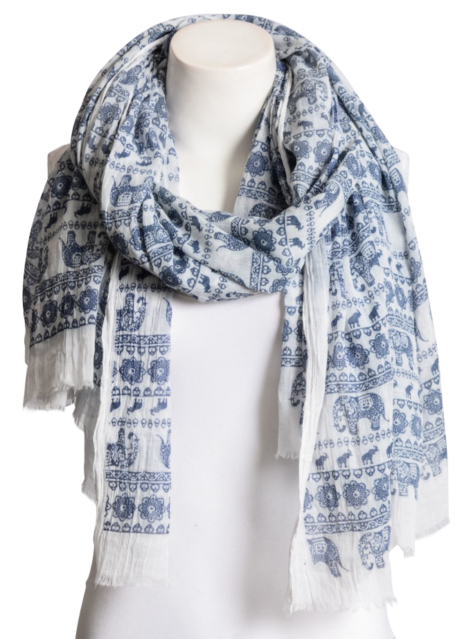 Navy Blue & White Lightweight Elephant Boho Scarf