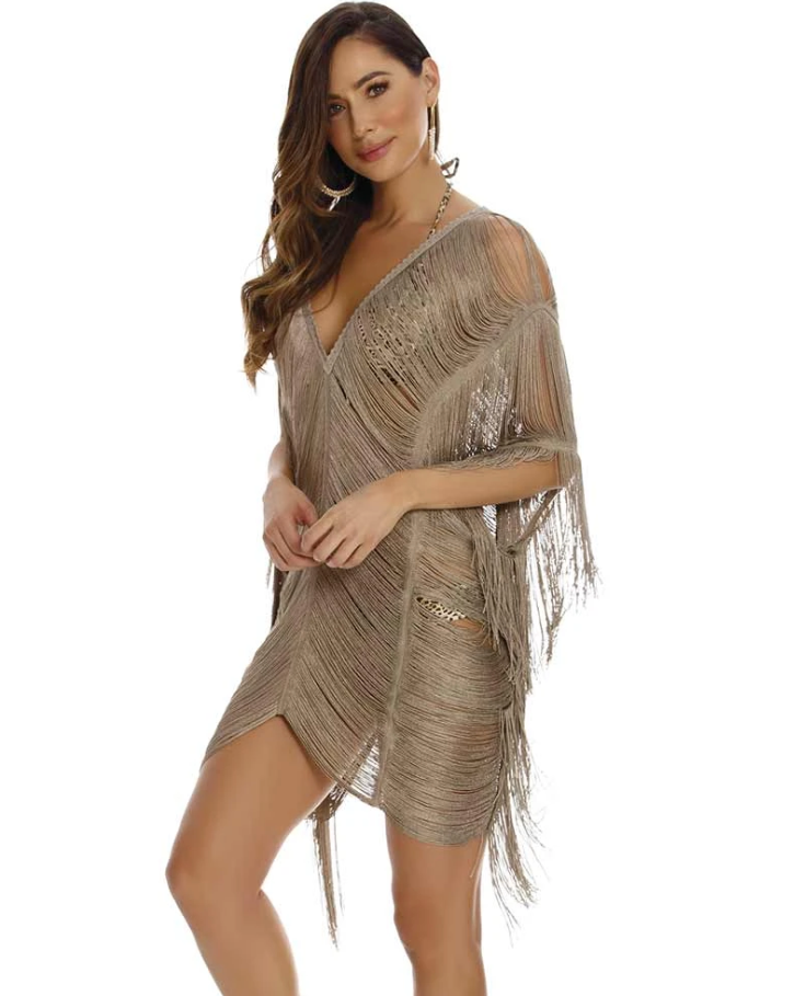 Leopard Short Fringe Cover Up
