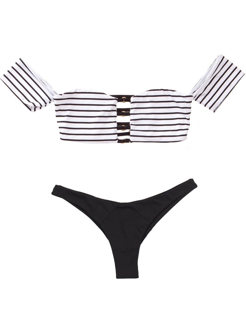 Fine Lines Off Shoulder Top - Black Stripe