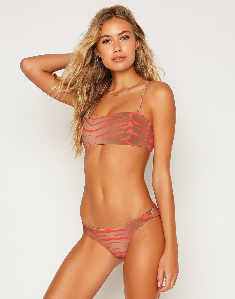 Angela Skimpy Bottom - Tiger/Taupe/Psycho Red