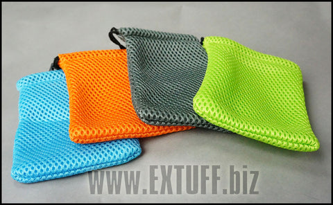Cell Phone,  Nylon Mesh Bag,  Drawstring Pouch (Orange, Grey, Green or Blue)