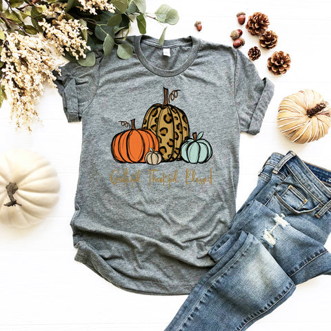 "Grateful Thankful Blessed Leopard Orange Turquoise Pumpkins | Ready to Press Screen Print Transfer 11"" X 11"" - Swell Transfers"