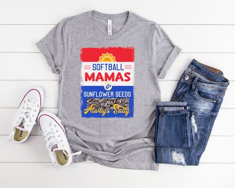 "Softball Mamas & Sunflower Seeds Always Salty | Ready to Press Screen Print Transfer 9"" X 11"" - Swell Transfers"