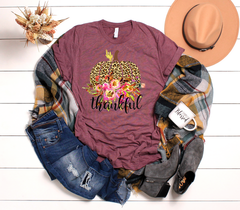 "Thankful Pumpkin Leopard Floral | Ready to Press Screen Print Transfer 11"" X 11"" - Swell Vinyl"