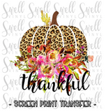 "Thankful Pumpkin Leopard Floral | Ready to Press Screen Print Transfer 11"" X 11"" - Swell Transfers"
