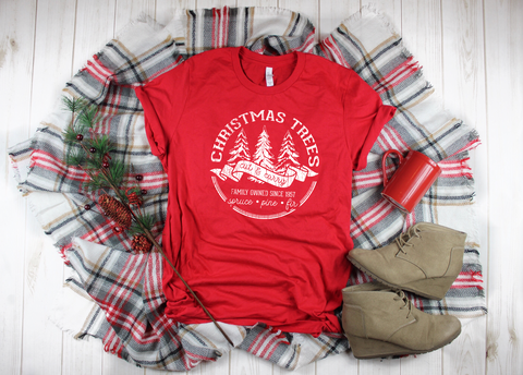 "Christmas Tree Farm Distressed | Ready to Press Screen Print Transfer 11"" X 11"" - Swell Vinyl"