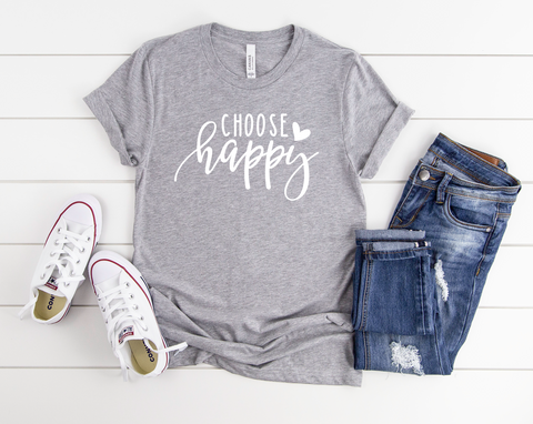 "Choose Happy | Ready to Press Screen Print Transfer 10.5"" X 6.5"" - Swell Transfers"