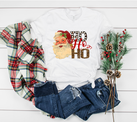 "Retro Santa Ho Ho Ho Marquee Leopard | Ready to Press Heat Transfer 12"" X 9"" - Swell Transfers"