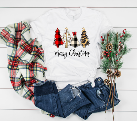 "Wild Christmas Trees Merry Christmas | Ready to Press Heat Transfer 12"" X 9"" - Swell Transfers"