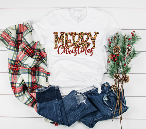 "Merry Christmas Leopard Letters | Ready to Press Heat Transfer 11"" X 6"" - Swell Transfers"