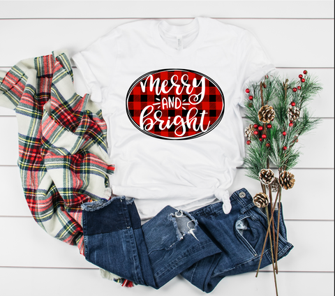 "Merry and Bright Buffalo Plaid | Ready to Press Heat Transfer 12"" X 9"" - Swell Transfers"
