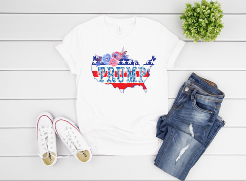 "Trump USA America Floral Design | Ready to Press Heat Transfer 10.5"" X 8"" - Swell Transfers"