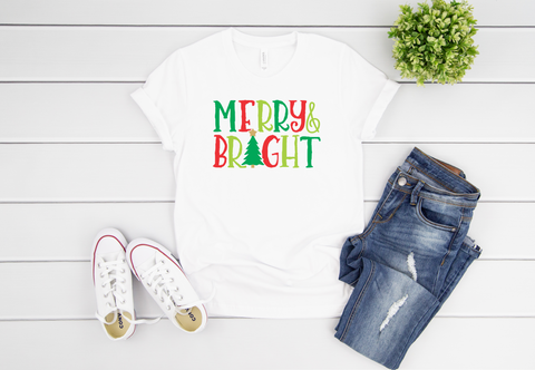 "Merry & Bright | Red and Green | Ready to Press Heat Transfer 11"" X 7"" - Swell Transfers"