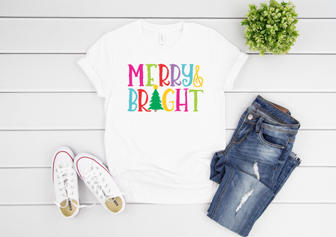 "Merry & Bright | Bright Colors | Ready to Press Heat Transfer 11"" X 7"" - Swell Transfers"