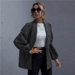 B/W Puffy Sleeves Shawl Neck Lantern Sleeve Plaid Tweed Coat Women Winter