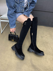 High quality cow leather platform thigh high boots round toe casual winter shoes Chunkt flats