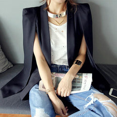 Shawl Collar Split Sleeve Cloak Blazer Cape Suit Jacket Coat