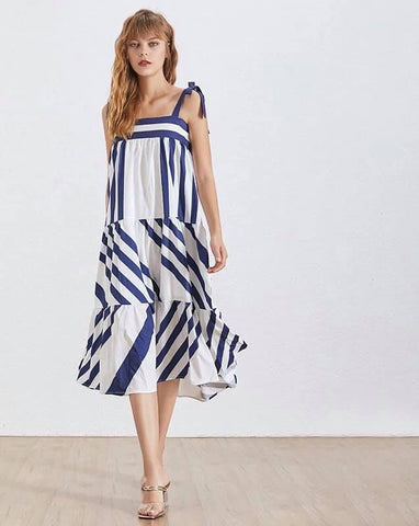 Striped Long Dresses Casual Off Shoulder  - Female Summer Clothes Fashion