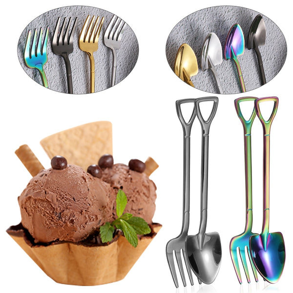 Hot Shovel Shape Ice Cream Spoon&Fork Tool Kitchen Accessories