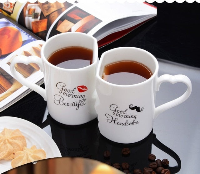 2Pcs/Set Couple Cup Ceramic Kiss Mug Valentine's Day Wedding Birthday Gift - GigaWorldStore
