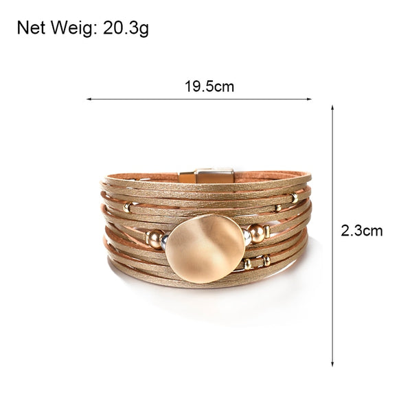 Metal Round Charm Leather Bracelets Fashion 14 Strips Bohemian Multilayer Wide Wrap
