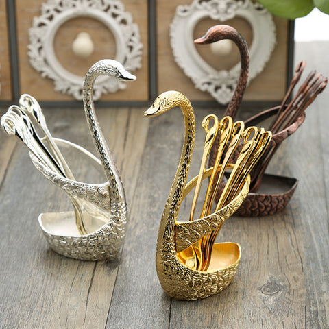7Pcs Swan Fruit Base Holder Forks Set Stainless Steel Salad Dessert Tableware Zero Waste - GigaKnows Store