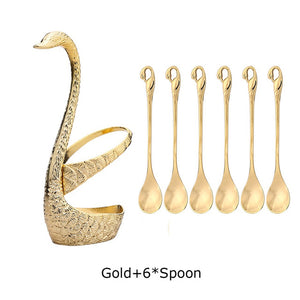 7Pcs Swan Fruit Base Holder Forks Set Stainless Steel Salad Dessert Tableware Zero Waste - GigaWorldStore