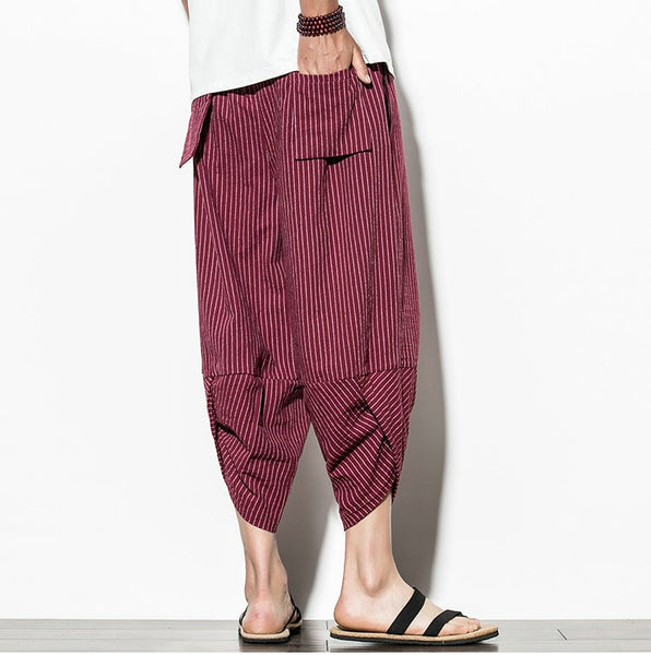 Baggy Cotton Harem Pants 2021 Japanese Vintage Striped Men Hip Hop Wide Leg Pants