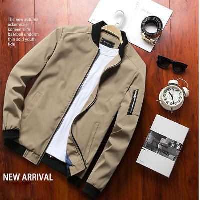New Men's Bomber Zipper Jacket Male Casual Streetwear Hip Hop Slim Fit Pilot Coat Men Clothing - GigaWorldStore