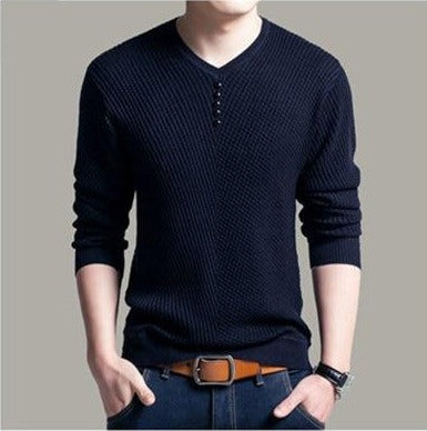 Sweater Men Casual V-Neck Pullover Men Slim Fit Long Sleeve Shirt Mens Sweaters Knitted Cashmere - GigaWorldStore