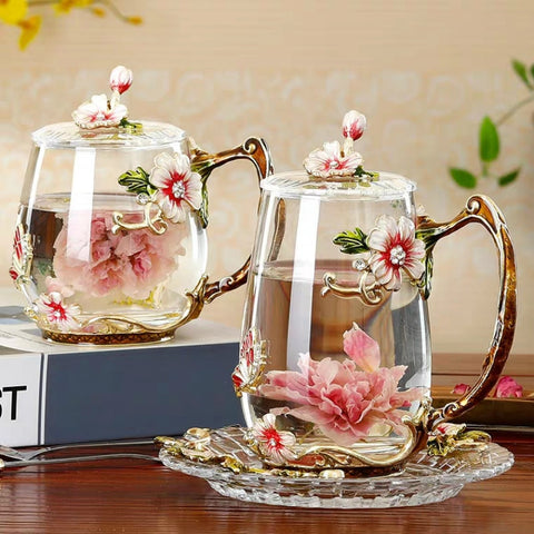 Coffee Cup Mug Flower Tea Glass Cups for Hot and Cold Drinks Tea Cup Spoon Set