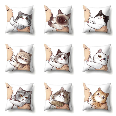 Cute Cat Cushion Cover Cartoon Animal Cat Polyester Throw Pillow Case Cover Decor Pillowcases