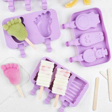 Cute Ice Cream Mold Silicone Popsicle Mold Reusable BPA-Free Ice Pop Mold