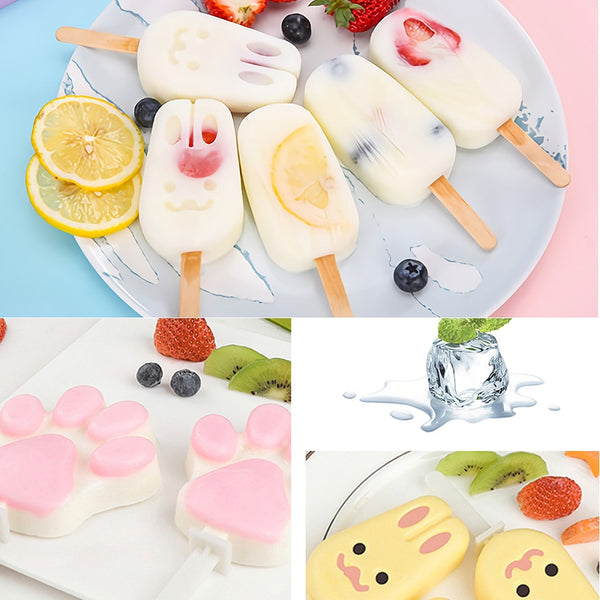 Cute Cartoon Ice Cream Mold Silicone Popsicle Mold Reusable BPA-Free Ice Pop Mold With Lids and Sticks