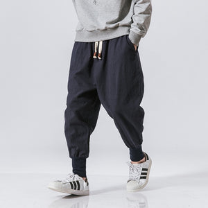 Cotton Harem Pants Men Streetwear Joggers Baggy Drop-crotch Casual Trousers
