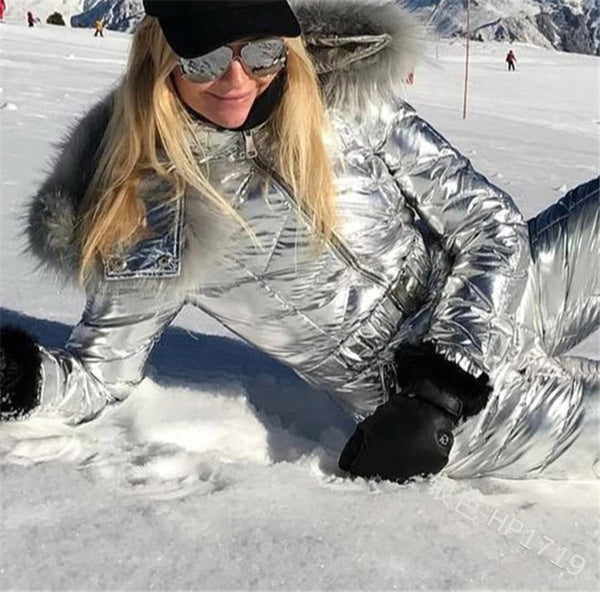 Shiny Ski Suit Women Winter Windproof Skiing Jumpsuit Snowboarding Suit Female