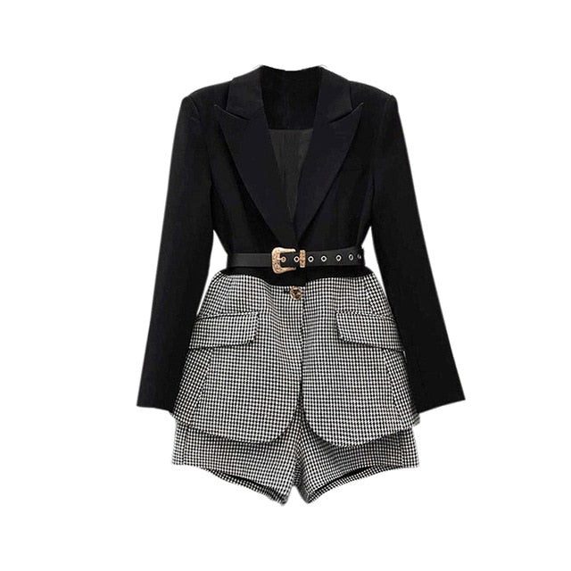 Two Piece Set For Women Lapel Long Sleeve Sashes Blazer Casual Patchwork