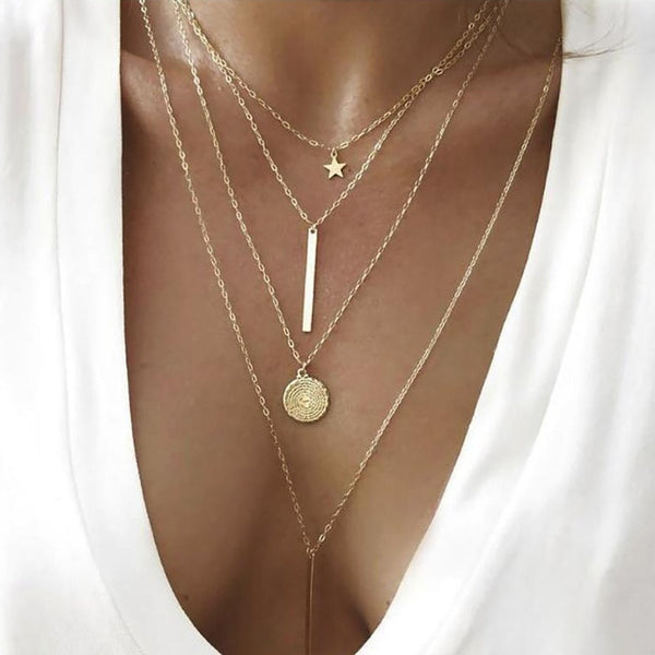 Bohemian Gold Moon Choker Chains Statement Star Map Heart Pendant Necklaces