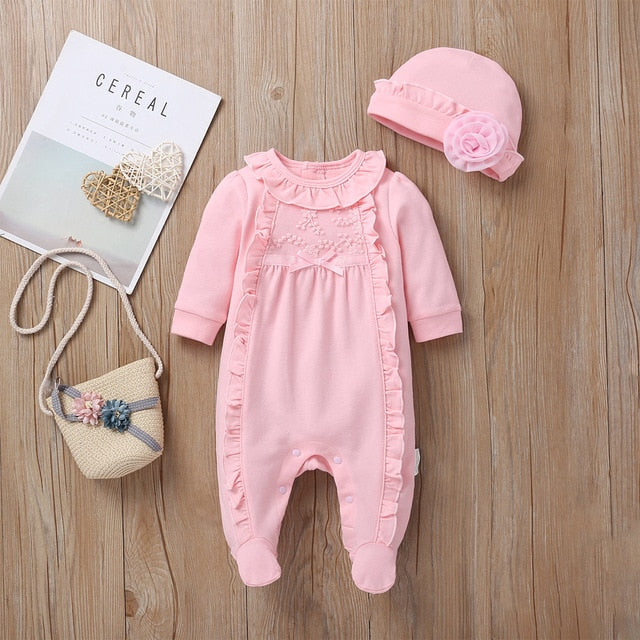 Baby Long Sleeve Jumpsuit Girl One Piece Romper+Hat Cotton Toddler Clothing Infant Rompers Babies Jumpsuits