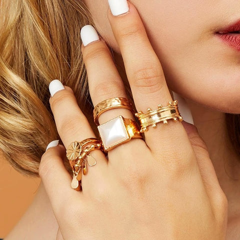 Boho Full Crystal Summer Wedding Rings Women Punk Vintage Jewelry Gift