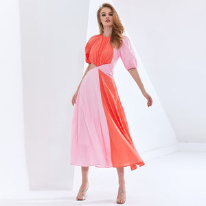 Patchwork Hit Color Asymmetrical Dress  Puff Sleeve High Waist Hollow Out