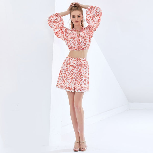 Print Lace Set Lantern Sleeve Tops High Waist Skirt Sexy Suit 2021 Summer Clothing