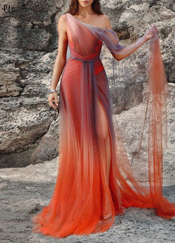 One Shoulder Gradient Chiffon Prom Dresses Long Open Back Sheath Side Slit Formal Party