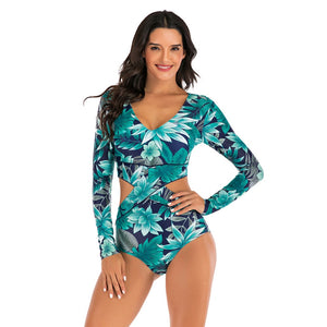 Print Floral One Piece Swimsuit Long Sleeve Swimwear Bathing Suit Swimsuit Vintage Surfing Swim Suits