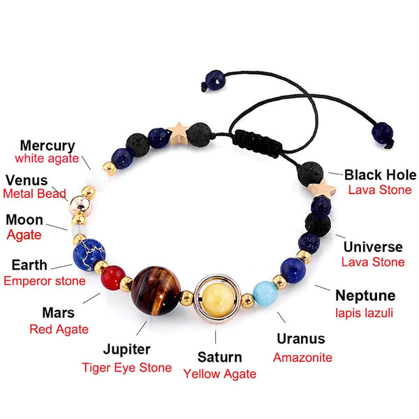 Universe Planets Beads Bangles & Bracelets Fashion Jewelry Natural Solar System - GigaWorldStore