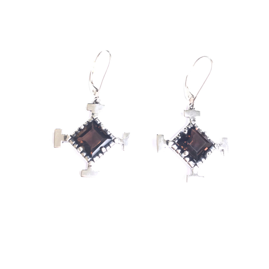 Vision earring  smoky quartz