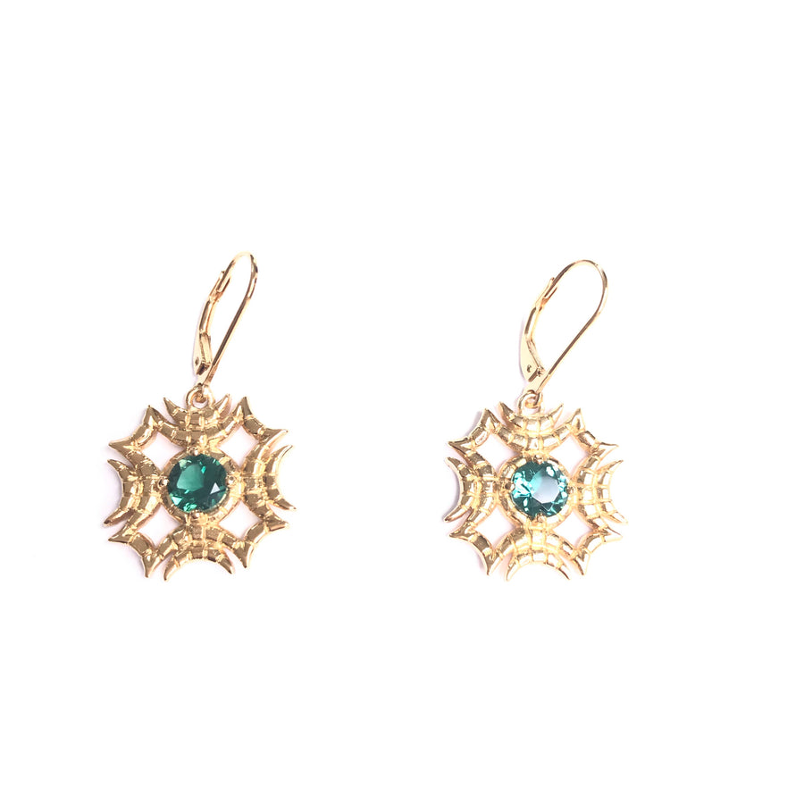 Witness earring green quartz 22 kt plated