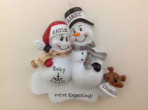 "Personalized Christmas Ornament-""We're Expecting"" Snowman Couple Ornament"