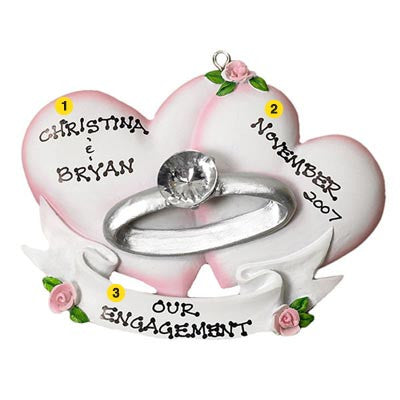 Personalized Christmas Ornament-Engagement Ring Ornament