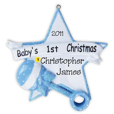 Personalized Christmas Ornament-Baby Rattle Ornament (Boy)